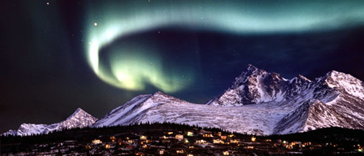 northern lights above hillside