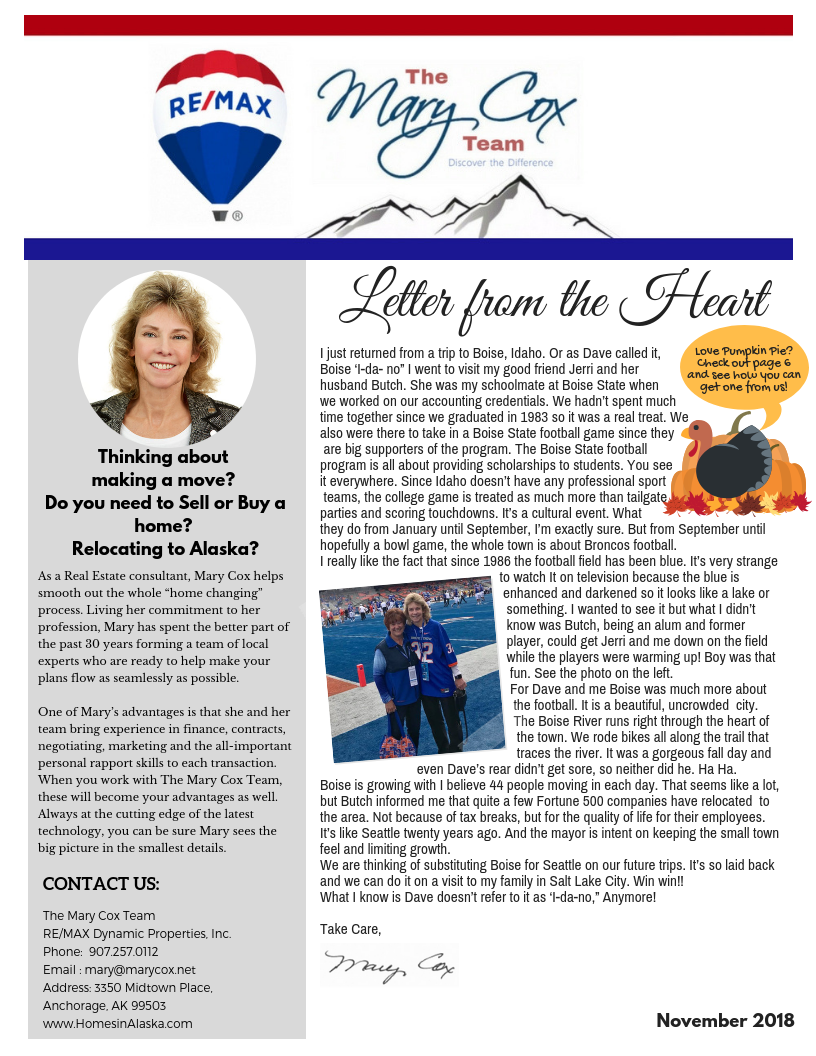 Mary COX Monthly Newsletter